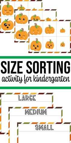 Looking for fall themed sorting activities for kindergarten? This adorable pumpkin size sorting game printable is perfect for preschool and kindergarten. Math Activities For Kids, Math For Kids, Preschool Education, Preschool Themes, Sorting Kindergarten, Sorting Games, Fall Preschool, Business For Kids, Math Centers