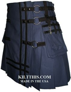 Interchangeable Blue Kilt Black Leather Double Cross www.kiltthis.com