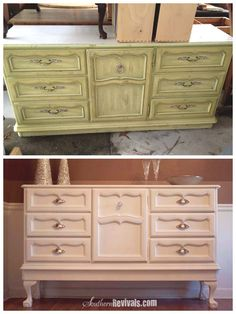 Vintage 1970's Dresser Becomes Modern Buffet. Find the perfect old dresser and add legs! I've redone furniture before but never thought to add legs.