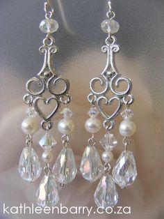 Kelly Chandelier Earrings Crystal & Pearl by KathleenBarryJewelry