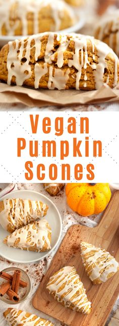 These deliciously spiced vegan pumpkin scones are moist and topped with a sweet glaze! Packed with pumpkin spice flavor and a great starbucks alternative! Vegan Dessert Recipes, Vegan Breakfast Recipes, Delicious Vegan Recipes, Healthy Recipes, Vegan Thanksgiving Desserts, Cooking Recipes, Breakfast Ideas, Pumpkin Scones, Pumpkin Spice