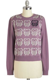 Odd One Owl Sweater. Let your outfit casually announce your presence with this distinct owl sweater by Vacant! #purple #modcloth