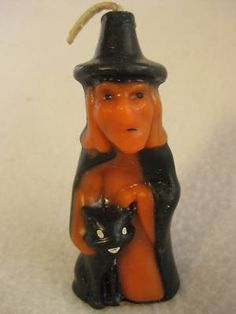 This is one of the hard to find halloween candles--the witch and black cat--and as you can see on the bottom label, it was 10 cents--one of the early ones. It stands 3 tall and is in good condit Vintage Halloween Images, Vintage Halloween Decorations, Holiday Candles, Halloween Candles, Vintage Fall, Halloween Season, 2nd Birthday Parties, Hallows Eve, Pumpkin Carving
