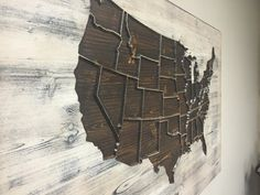 US Map Wall Art Wood Carved State Outlines Wood Wall by HowdyOwl