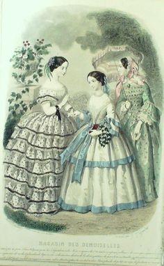 GRAVURE de MODE AUTHENTIQUE-M160-MAGASIN DEMOISELLES-ROBE DE BAL-1854
