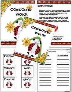 This is activity pack focuses on compound words. There is a compound word sort activity, compound word matching activity, recording sheets, and a cut a paste activity. Check out more Language Arts activities! Word Work Activities, Reading Activities, Teaching Reading, Classroom Activities, Classroom Ideas, Learning, First Grade Phonics, Creative Teaching, Teaching Ideas