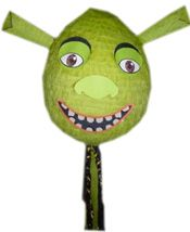 Shrek Pinata- Looks like an easy design to DIY- Paper mache a Big Balloon and decorate