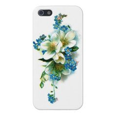 pretty vintage iphone 5 case with white and blue wildflowers