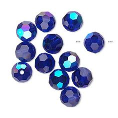 Bead, glass, cobalt AB, 8mm faceted round. Sold per pkg of 12.