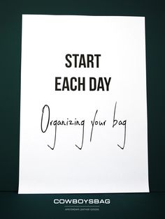 Start each day, organizing your bag | Cowboysbag