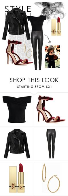 """""""Look at me, i'm Sandra Dee."""" by moonligght on Polyvore featuring Chicwish, Gianvito Rossi, Miss Selfridge, The Row, Yves Saint Laurent, Bony Levy, Halloween, Grease, sandy and halloweencostume"""