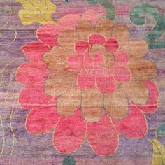 Lotus flower on silk over dyed rug