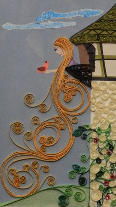Rapunzel in Tower paper quilled framed wall art by QuillingSpree, $40.00