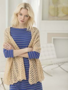 Crochet this lacy shawl in Vanna's Glamour for a perfect accessory for formal occasions.