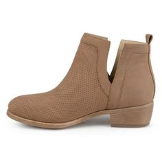 1473d917d37c Women s Journee Collection Lainee Round Toe Pinhole Faux Suede Booties -  Taupe 6.5