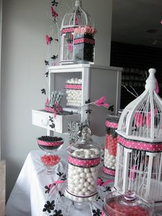 Garden Shabby Chic Spring Black Pink White Candy & Cookie Decorations Edible Favor Bags Personalized Ribbon Wedding Favors Photos & Pictures - WeddingWire.com