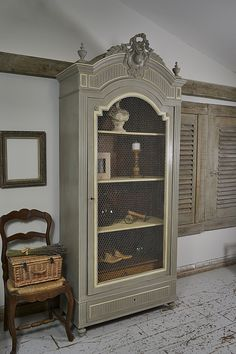 This shabby chic antique Henry II style Armoire from c1900 would be the statement piece in any room! We've painted in Annie Sloan French Linen with Craig & Rose Adam Cream detailing and aged with dark wax. The chicken-wire door enhances the French look. http://www.thetreasuretrove.co.uk/cabinets-and-storage/shabby-chic-henry-ii-french-armoire