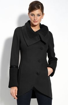 Mackage 'Tessa' Wool Blend Coat with Knit & Leather Trim | Nordstrom