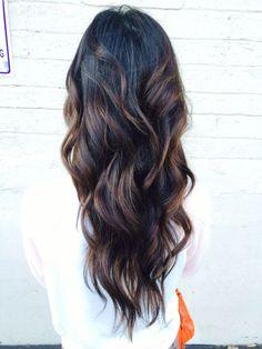 Black Hair Caramel Balayage