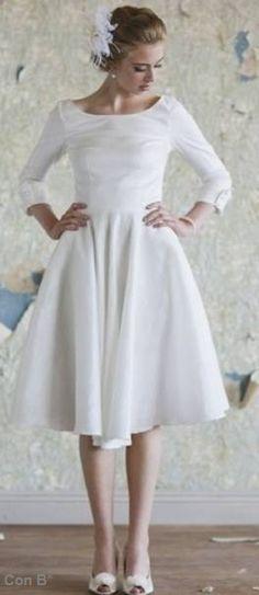 Vestido de novia, estilo vintage corto