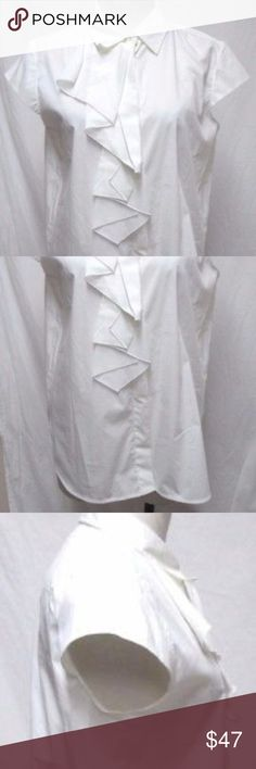 """Max Mara white ruffle button down blouse top Sz 16 Max Mara blouse in mint condition, just needs to be pressed. Size 16, about 22"""" from underarm to underarm, about 26"""" from shoulder to hemline, 3"""" rounded side slits; 73% Cotton 23% Nylon 4% Spandex. Thank You. Max Mara Tops Blouses"""