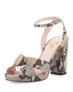 honey platform snake-print sandal, beige/multi by kate spade new york at Neiman Marcus.