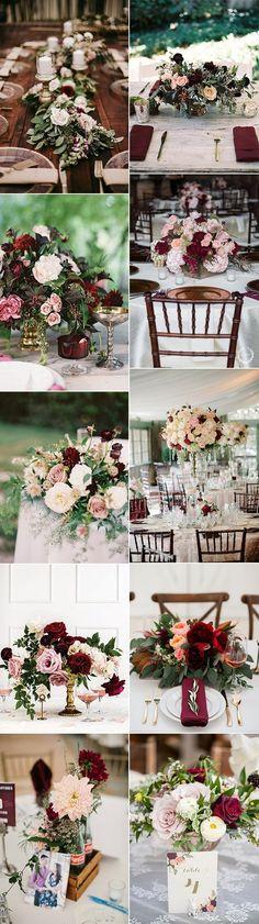trending burgundy and blush wedding centerpieces #weddingcolors #weddingthemes #fallweddings #weddingideas #burgundywedding #weddinginspiration #weddingdecor #weddingcakes #weddingcenterpieces #weddingflowers
