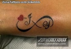 Change the letters to a L and K for my sisters and probably change the heart to a flower Heart With Infinity Tattoo, Infinity Tattoo Designs, Infinity Tattoos, Letter J Tattoo, Pisces Tattoos, Tatoos, Marriage Tattoos, Matching Sister Tattoos, Memorial Tattoos