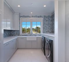 Nice upstairs laundry room. California Family Home with Transitional Coastal Interiors