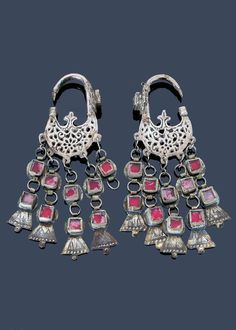 Morocco - Central Anti Atlas region | Earrings; silver, red glass cabochons | Sold ~ (May '15)