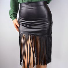 Leather Skirt With Tassels - Redskirtz