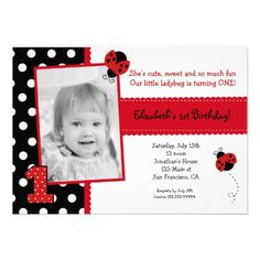 15 best ladybug first birthday invitations images on pinterest ladybug birthday party invitations filmwisefo