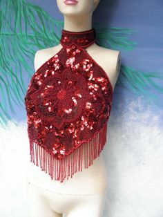 sequined  halter top with fringes | Christmas Red Sequin & Beaded Fringe Backless Halter Top, 1970's -1980 ...