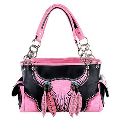 Montana West Black & Pink Bull Skull Satchel ($37) ❤ liked on Polyvore featuring bags, handbags, satchel handbags, handbag satchel, pink handbags, montana west handbags and cowgirl purse