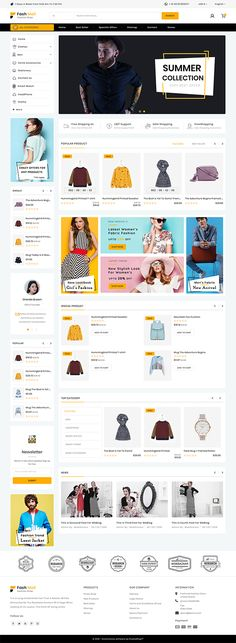 Web design trends - Fashmall The Fashion Store Template – Web design trends Ecommerce Website Design, Website Design Layout, Layout Design, Navigation Design, App Ui Design, Flat Web Design, Web Design Trends, Pamphlet Design, Best Landing Pages