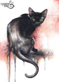 """The Black Cat""  watercolour, 2009 www.clockworkart.com"