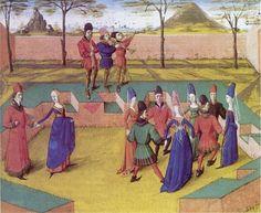 """Les danseurs exécutant une """"carole"""" dans le verger.    Miniature extraite du Roman de la rose de Jean Meung.  vers 1460. BNF, Manuscrits, français 19153, f. 7"""