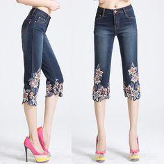 Yaz Vintage kadının Dekore Çiçek Boncuk Kısa Kot Pantolon Için Rahat Laxury Streç Kadın Flared Kapriler Kot Kadın