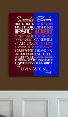 Florida State Seminoles / University of Florida Gators House Divided Ready to Hang Standout FSU UF House divided!