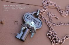 "Copper key with statement ""Secret"". Statement necklace secret. Copper key steampunk. on Etsy, $20.00"