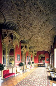 Grand Gallery, Strawberry Hill House. Twickenham, London, England. Gothic Revival villa built by Horace Walpole from 1749