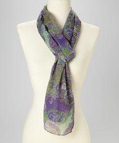 Purple & Green Paisley Silk Scarf