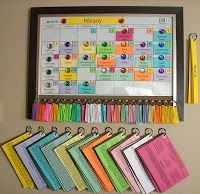 Cork board with colour-coded projects to pin on calendar. Sewing, painting, cleaning, organizing, etc. Make interchangeable month labels.