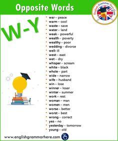 Antonym / Opposite Word List, Definition and Detailed List - English Grammar Here English Vocabulary Words, Learn English Words, English Grammar, English English, Vocabulary List, English Writing Skills, English Lessons, Antonyms Words List, Opposite Words List