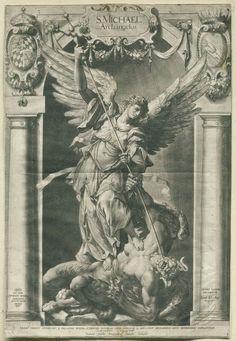 Standbeeld van de aartsengel Michaël op de Jesuitenkerk in München, Lucas Kilian, Hubert Gerhards, Peter de Witte, 1589 - 1637