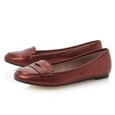 LAINO - Leather Penny Loafer | Flats/Ballerinas | Dune London | AW13 #dunelondon #duneshoes #fashion #metallics #loafer #flat #shoes #red #style