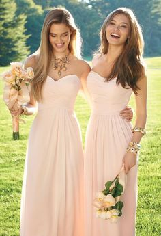 Blushing beauties in our new bridesmaid dresses! Shop our chic collection now for your best gals! #CLVbridesmaids