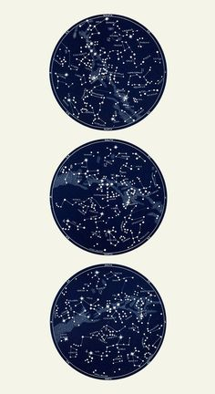 Vertical Circular Constellation Map Trio by LaurelCanyonDreaming