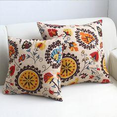 >> Click to Buy << Fashion Folk style cotton fabric sun style pillowcase sun flower painting design pattern pillowcase dress decorating #Affiliate