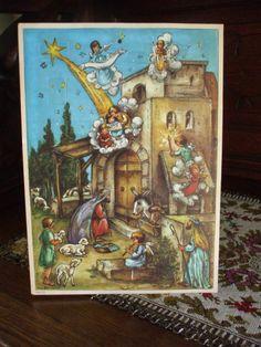 Vintage Haco German Advent Calendar Nativity Scene Scriptures Original Envelope
